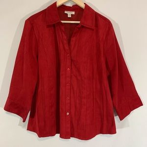 Dress Barn Red Pleated Blouse sz 18/20